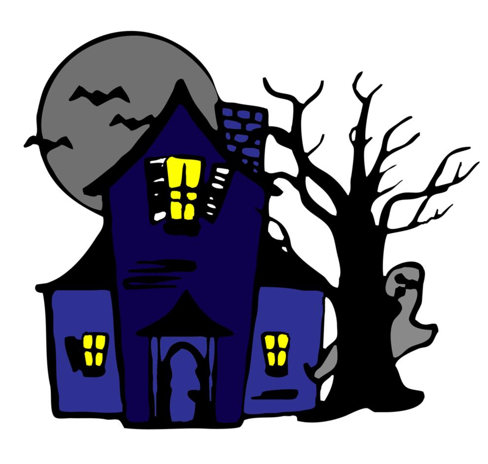 Stampa disegno di casa con fantasmi a colori for Disegni di case di tronchi