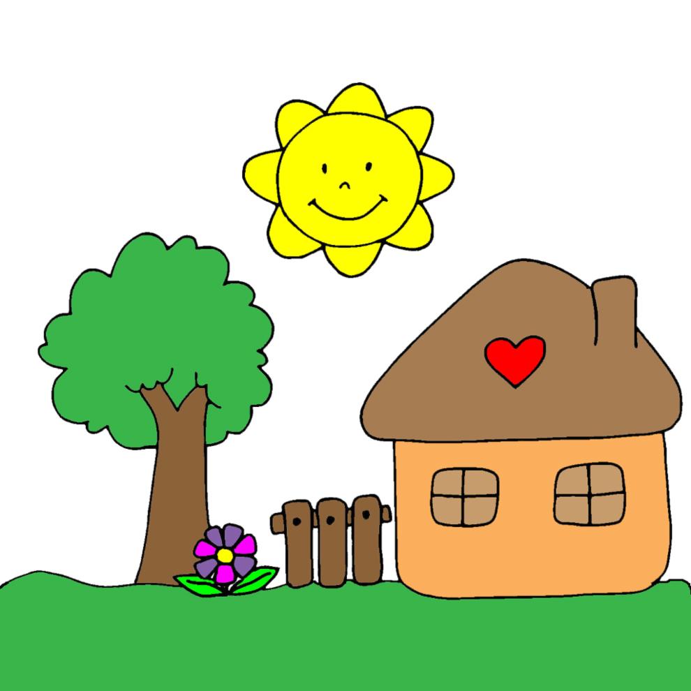 Stampa disegno di casetta in campagna a colori for Disegni di case di tronchi
