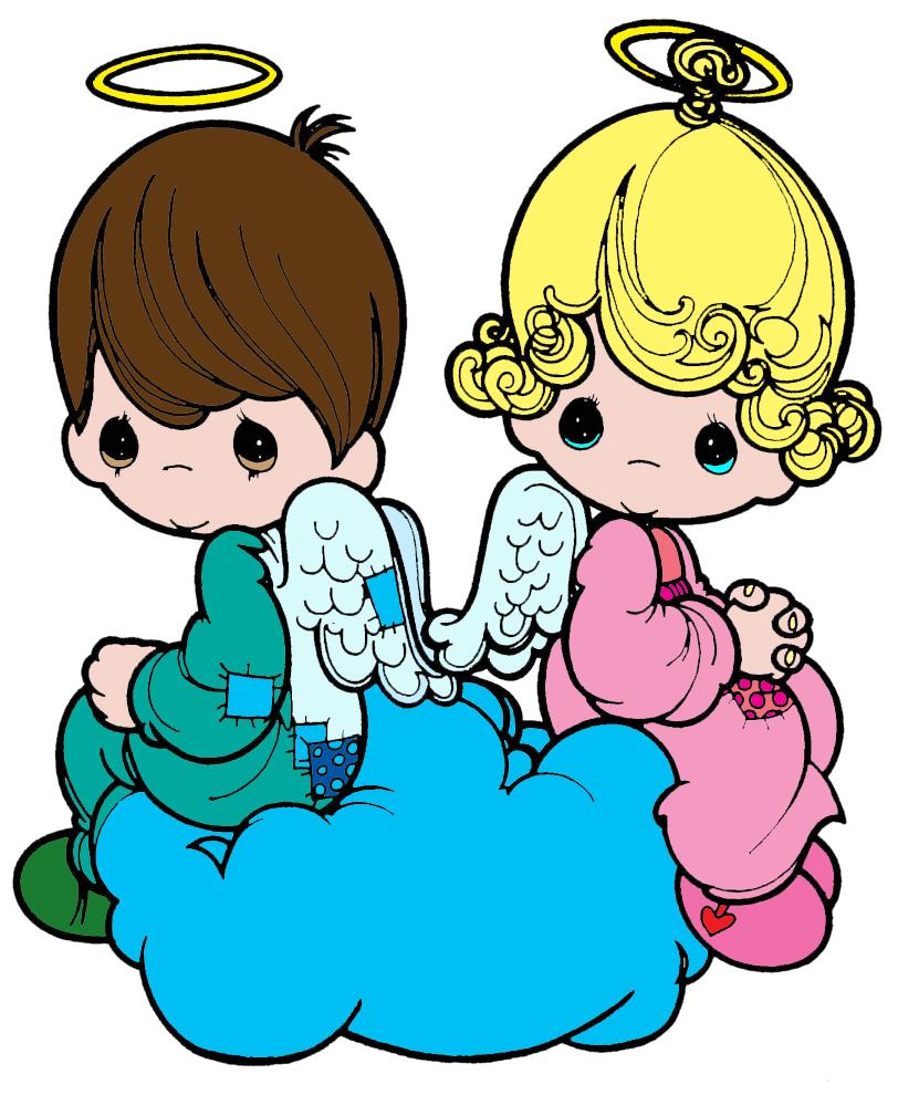 Stampa disegno di angioletti sulla nuvola a colori for Disegni di angeli da colorare per bambini
