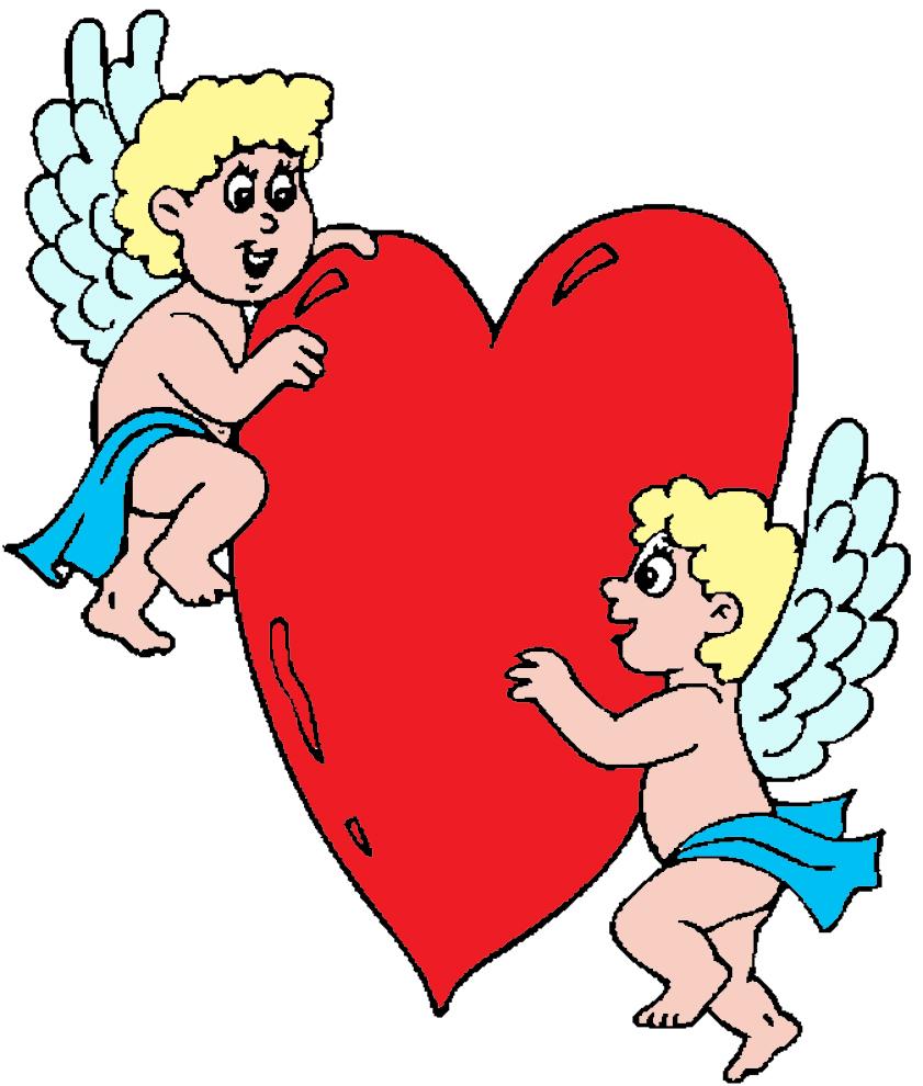 Stampa disegno di angeli con cuore a colori for Disegni di angeli da colorare per bambini