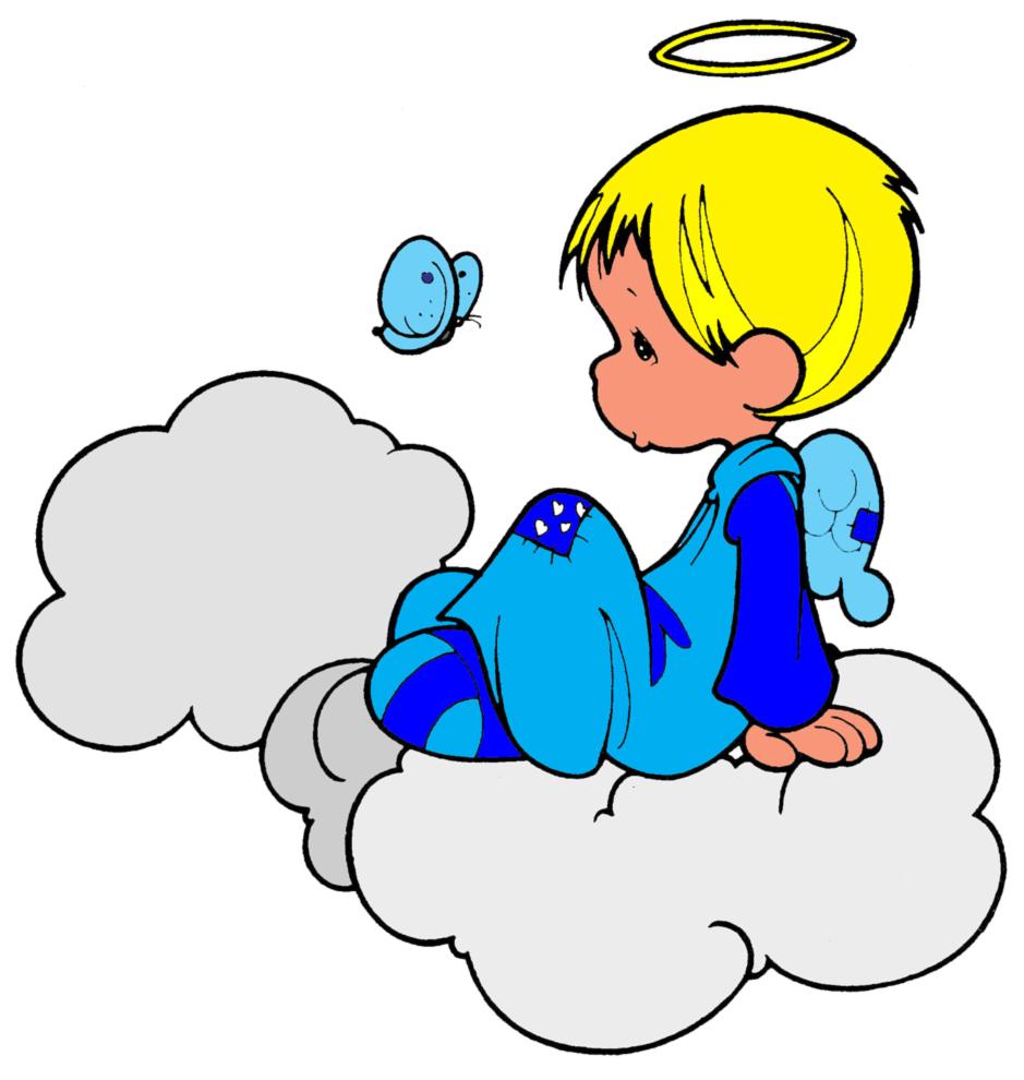 Stampa disegno di angioletto sulle nuvole a colori for Disegni di angeli da colorare per bambini