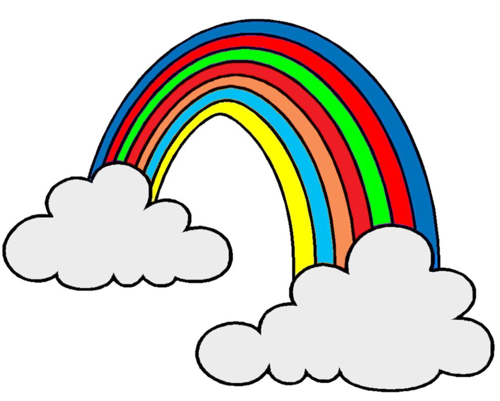 Stampa disegno di arcobaleno e nuvole a colori - Arcobaleno da colorare stampabili ...