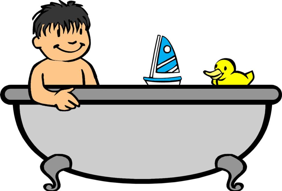 Stampa disegno di bagnetto in vasca a colori - Varicella si puo fare il bagno ...