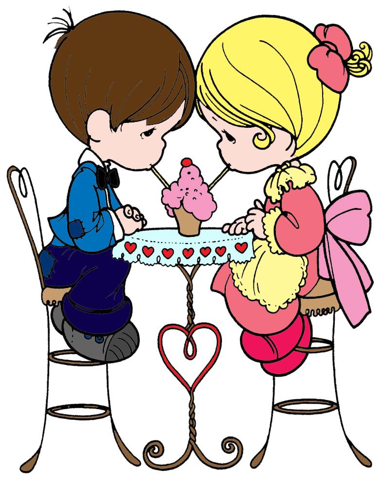 Stampa disegno di bambini innamorati a colori for Disegno bambina da colorare