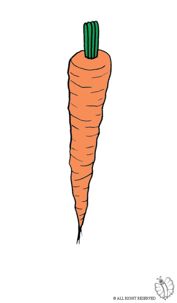 Stampa disegno di carota a colori for Coniglio disegno per bambini