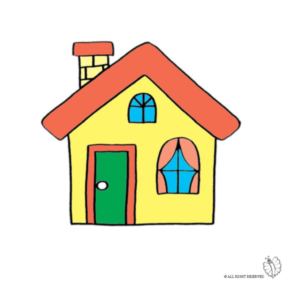 stampa disegno di casa con camino a colori
