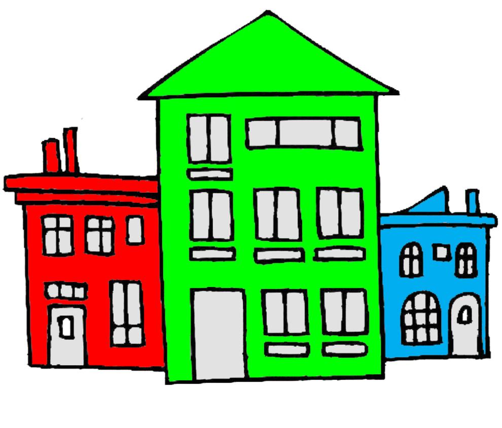 stampa disegno di case a colori