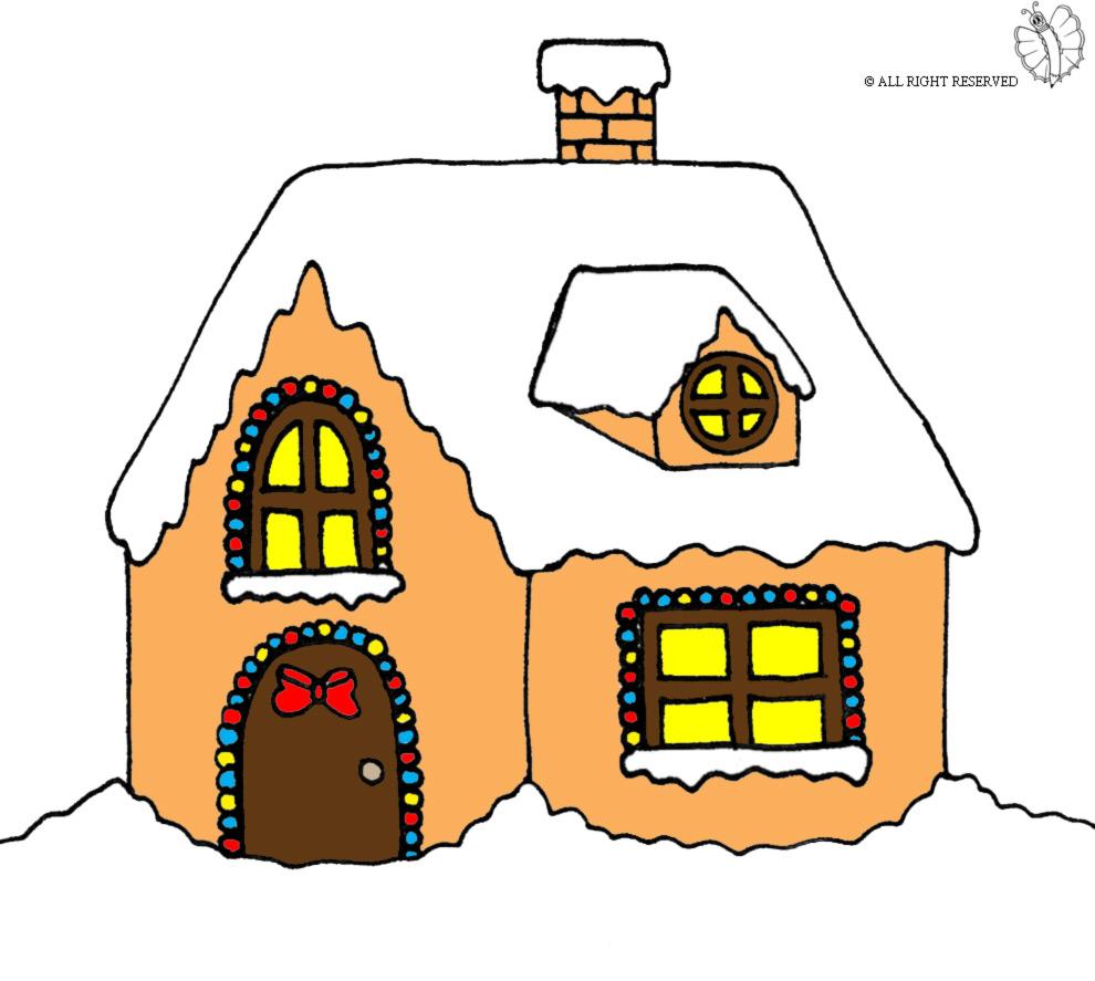 Stampa disegno di casetta coperta di neve a colori for Disegni di coperta inclusi