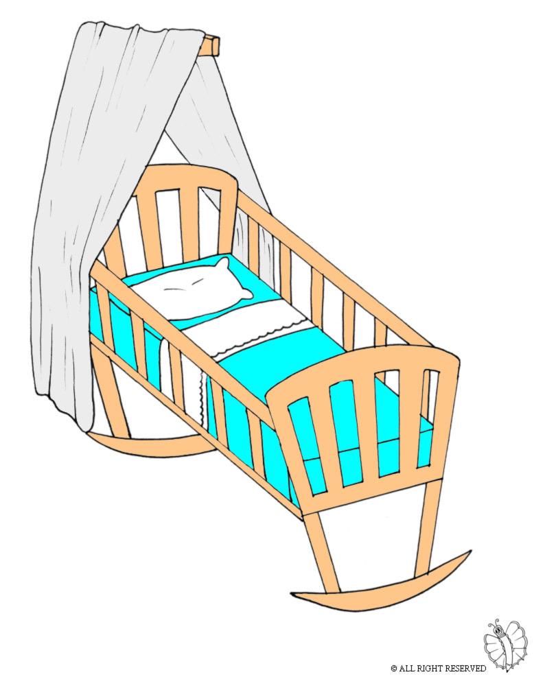 Stampa disegno di culla a colori for Comodini per bambini online