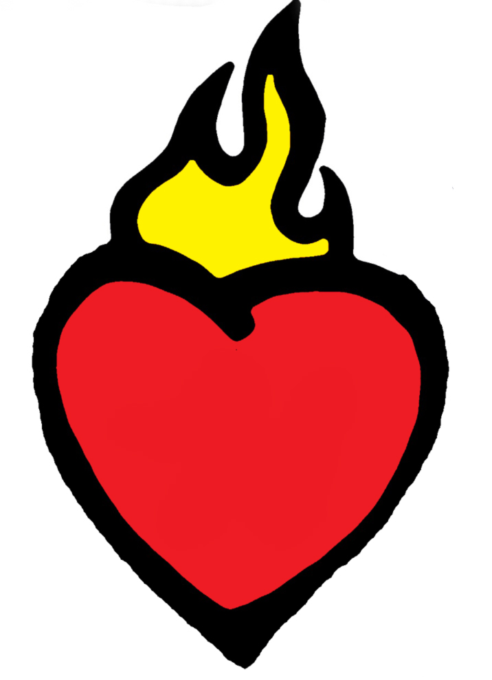 Stampa disegno di cuore in fiamme a colori for Immagini di disegni facili