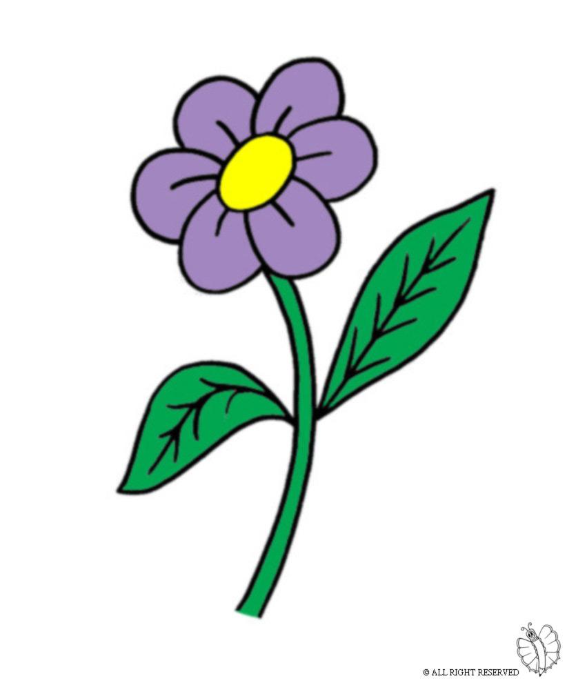 Stampa disegno di fiore con foglie a colori - Immagine del mouse a colori ...