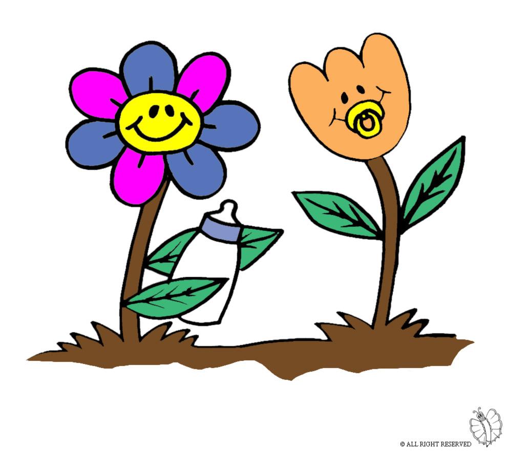 Stampa disegno di fiori animati a colori for Fiori stilizzati colorati