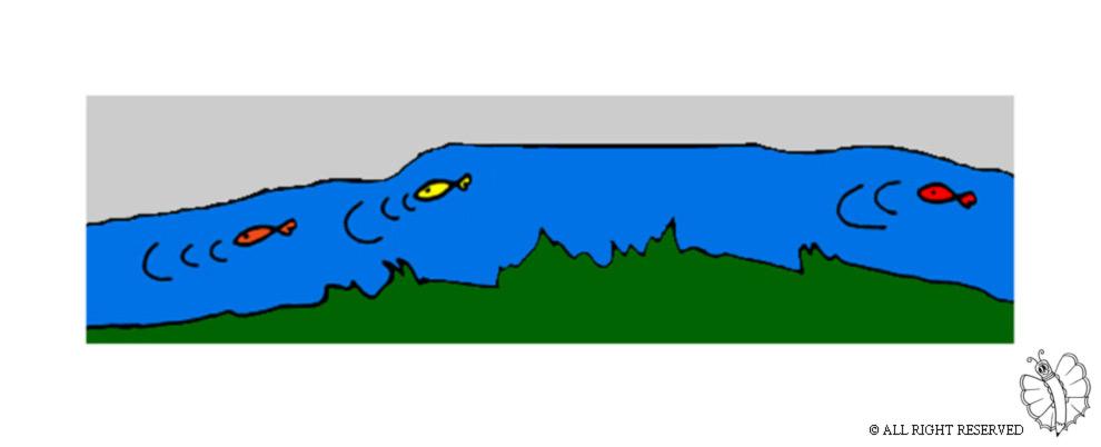 Stampa disegno di fiume con pesci a colori for Immagini da colorare di pesci