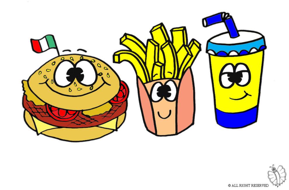 Cibo Hamburger Disegno Colorato