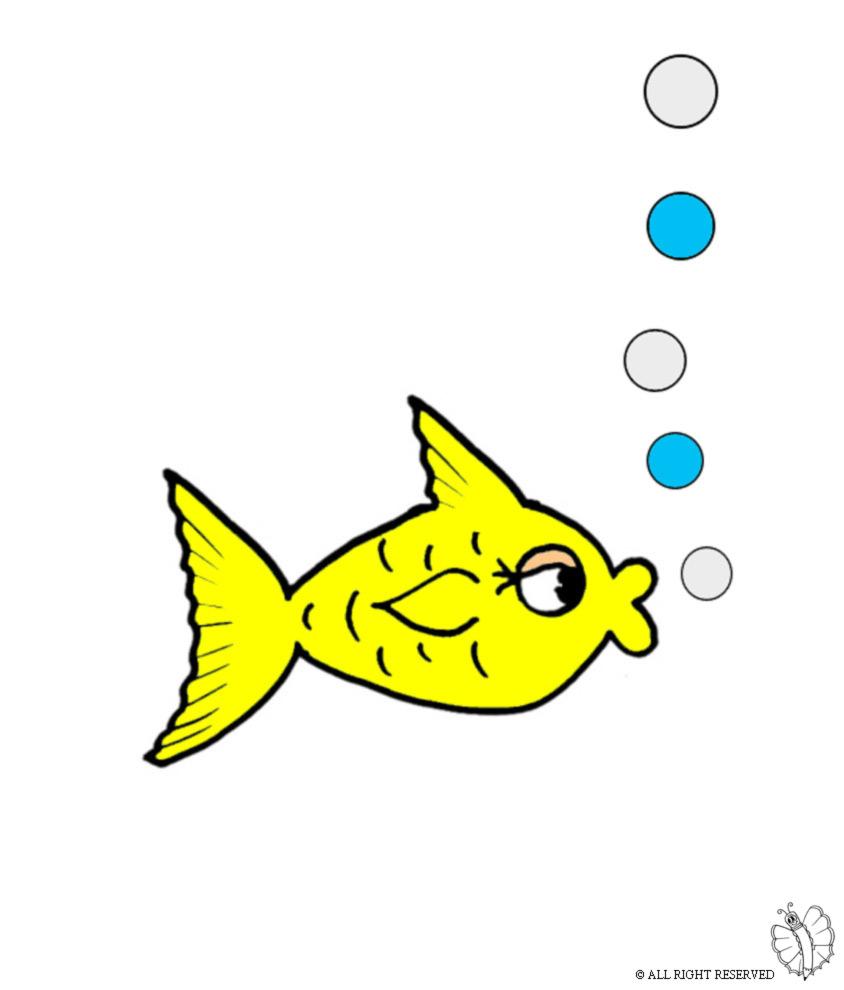 Stampa disegno di pesce e bollicine a colori for Immagini da colorare di pesci