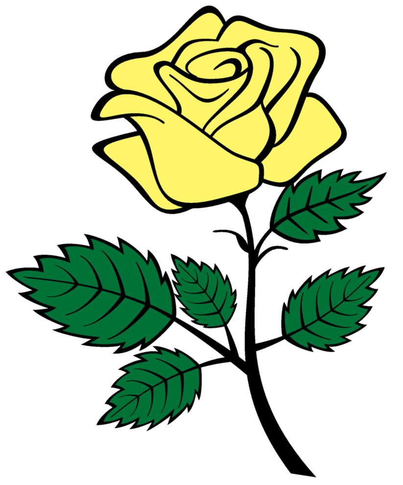 Stampa disegno di rosa a colori for Foto facili da disegnare