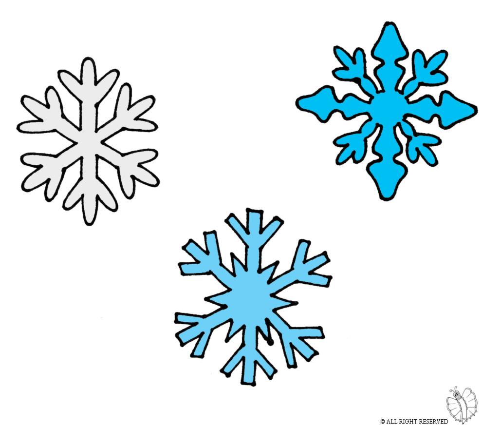 Stampa disegno di fiocchi di neve a colori - Fiocco di neve da colorare foglio da colorare ...