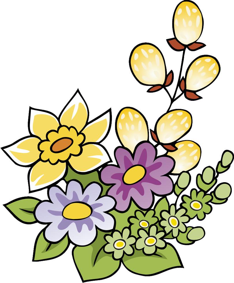 Stampa disegno di fiori di primavera a colori for Fiori da disegnare facili