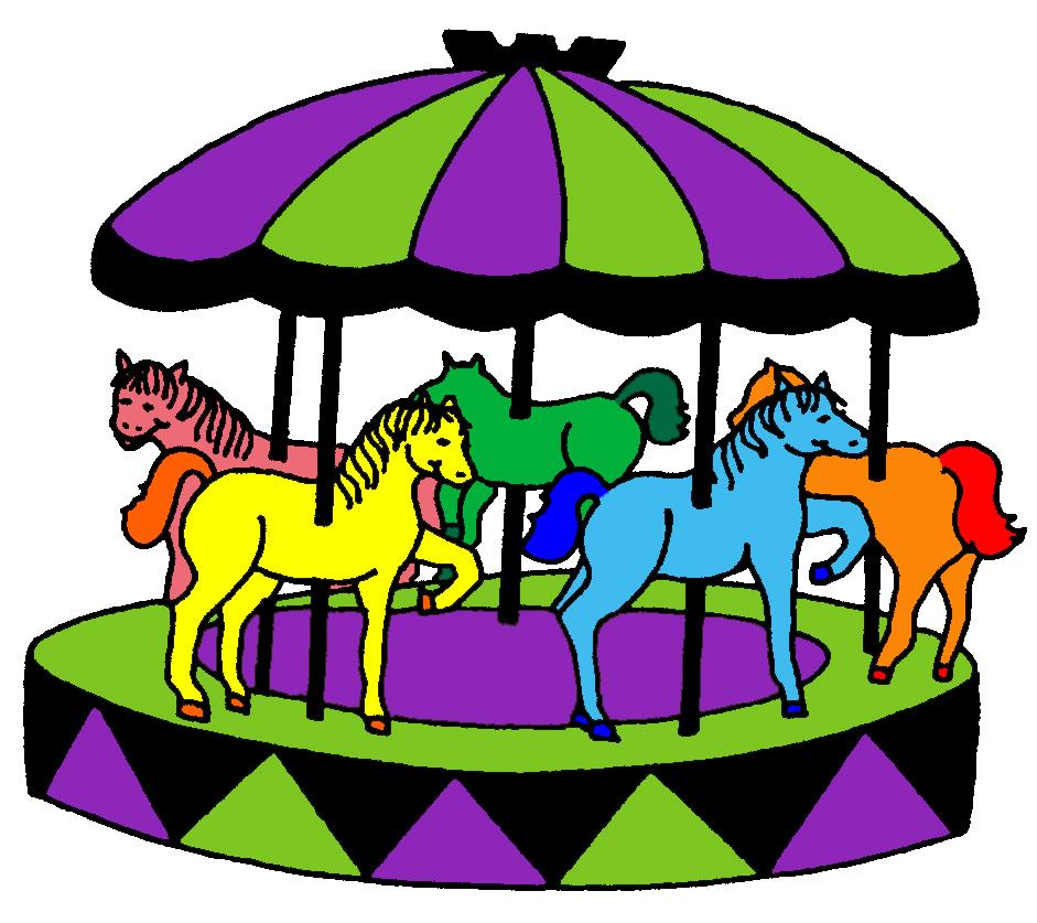 Stampa disegno di giostra con cavalli a colori for Disegno cavallo per bambini