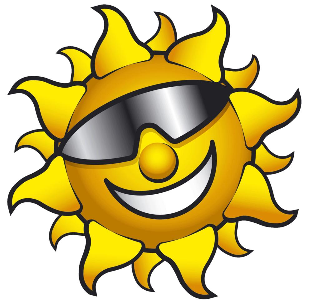 Stampa disegno di sole con occhiali a colori for Immagini sole da colorare