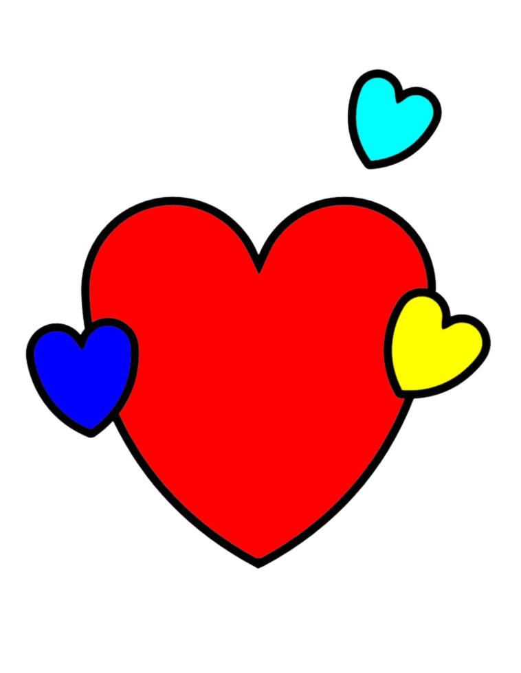 Stampa disegno di cuore e cuoricini a colori for Disegni da colorare con cuori