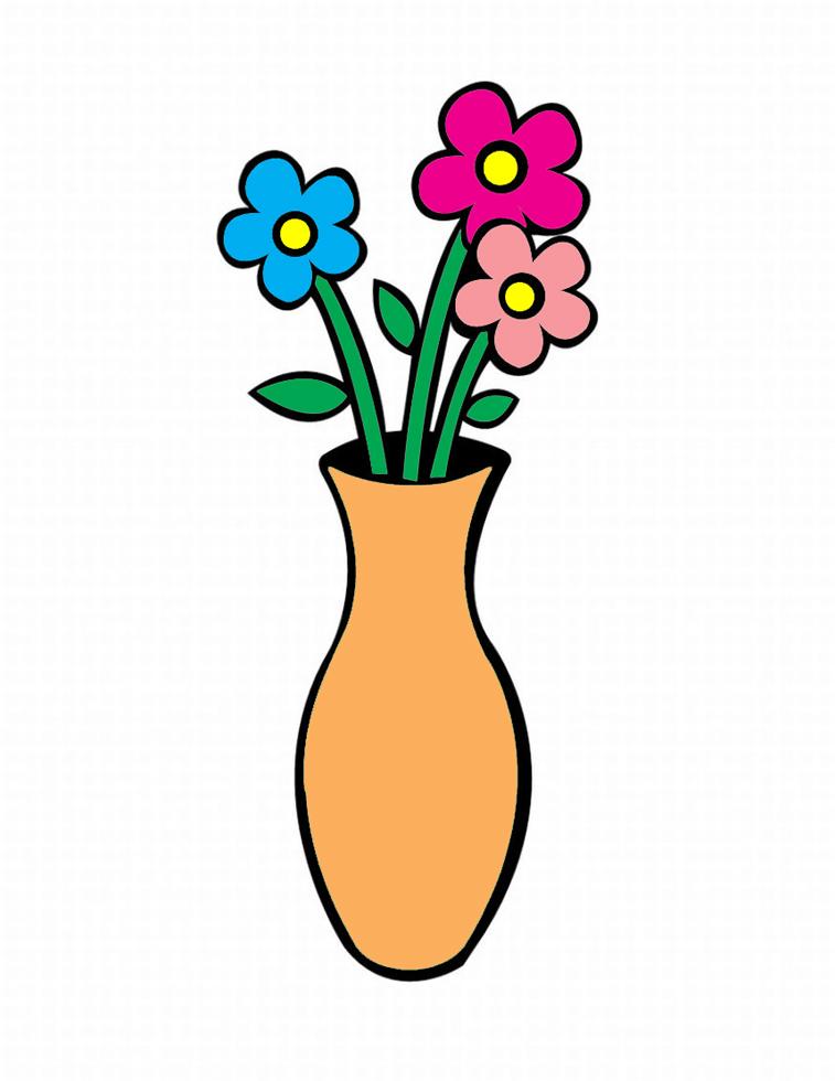 Stampa disegno di vaso con fiori a colori - Immagini di tacchini a colori ...
