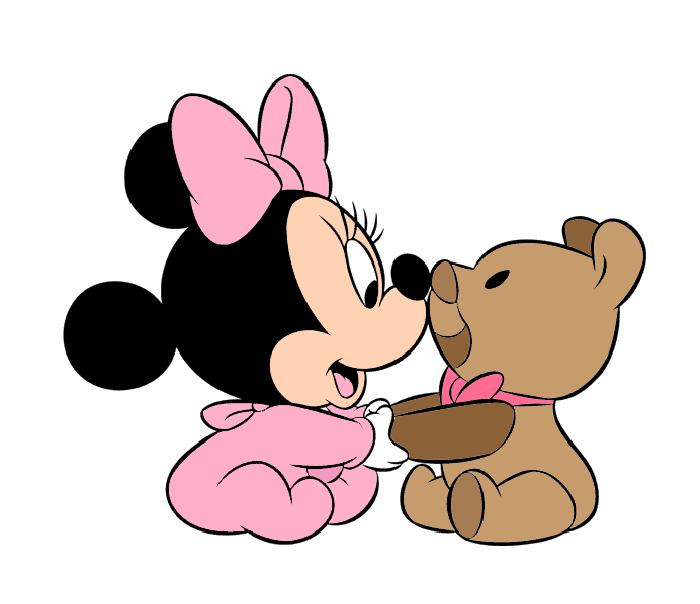 disegno di Baby Minnie con Orsacchiotto a colori