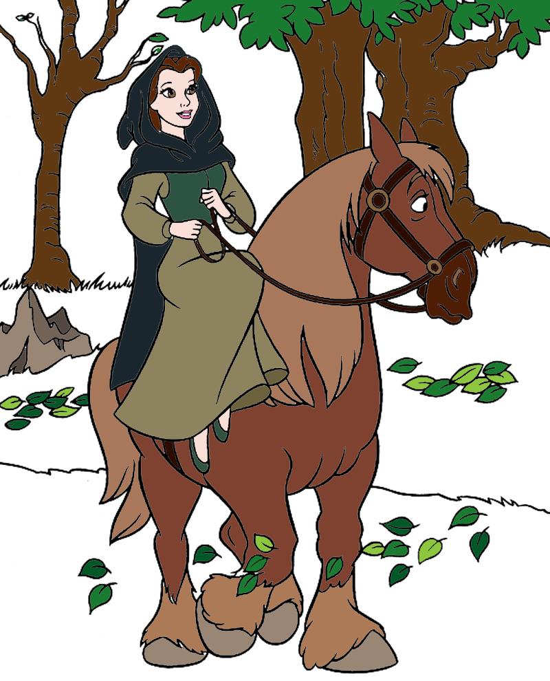 Stampa disegno di belle a cavallo a colori for Disegni bella e la bestia