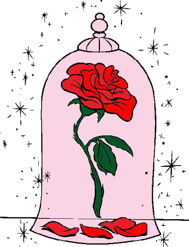 Stampa disegno di la rosa della bella e la bestia a colori for Disegni da colorare la bella e la bestia