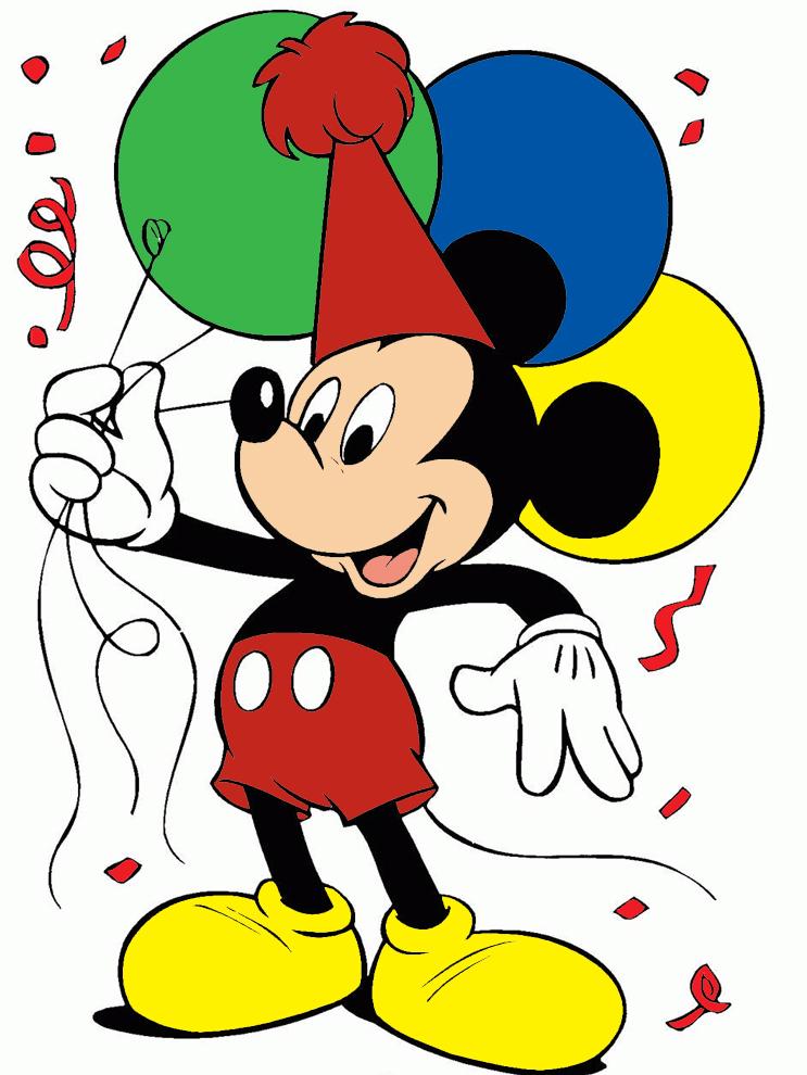 Stampa disegno di topolino con i palloncini a colori - Immagine del mouse a colori ...