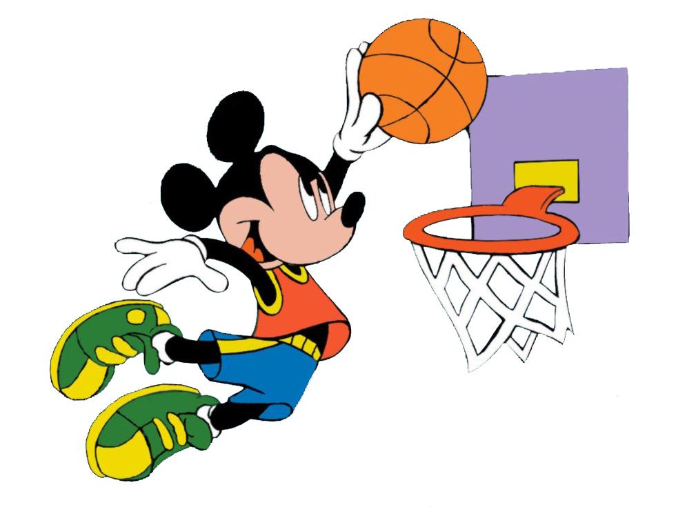 Stampa disegno di topolino e il basket a colori - Immagini stampabili di pallacanestro ...