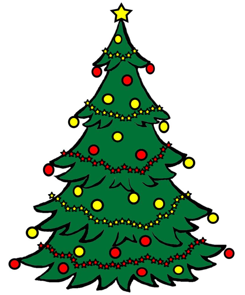 Stampa disegno di albero natalizio a colori for Immagini natale stilizzate
