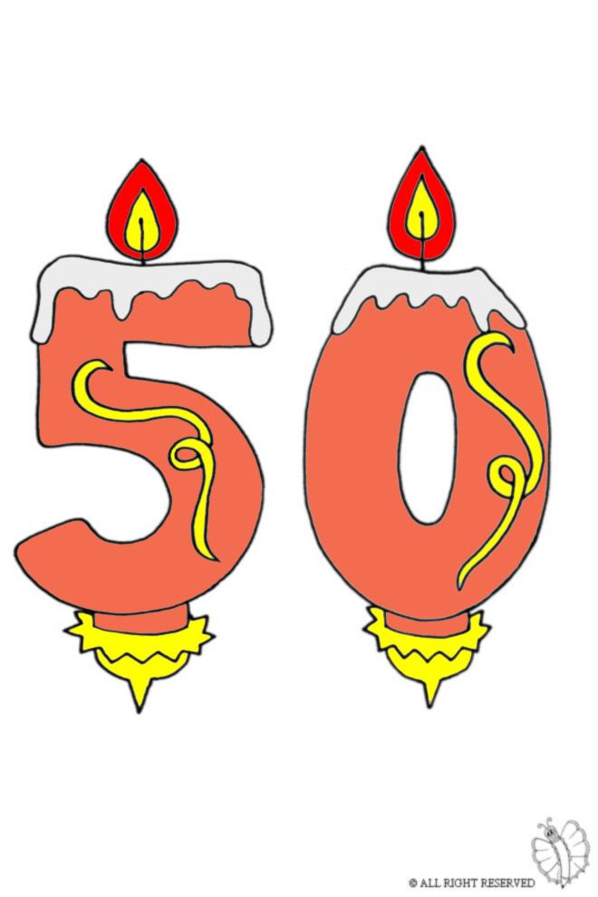 disegno di Cinquanta Anni Candeline Compleanno a colori
