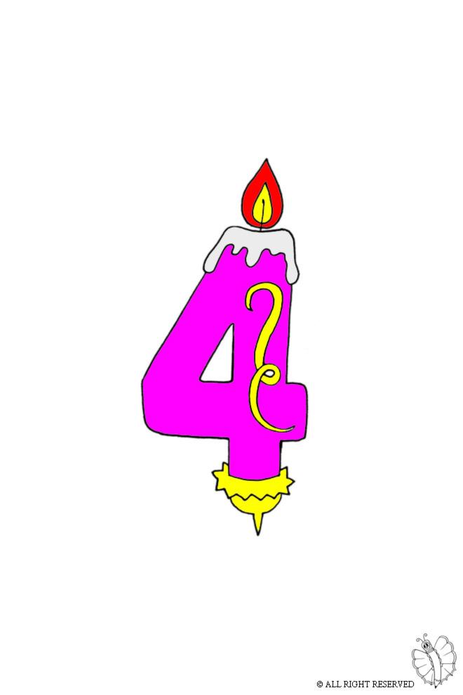 disegno di Quattro Anni Candeline Compleanno a colori