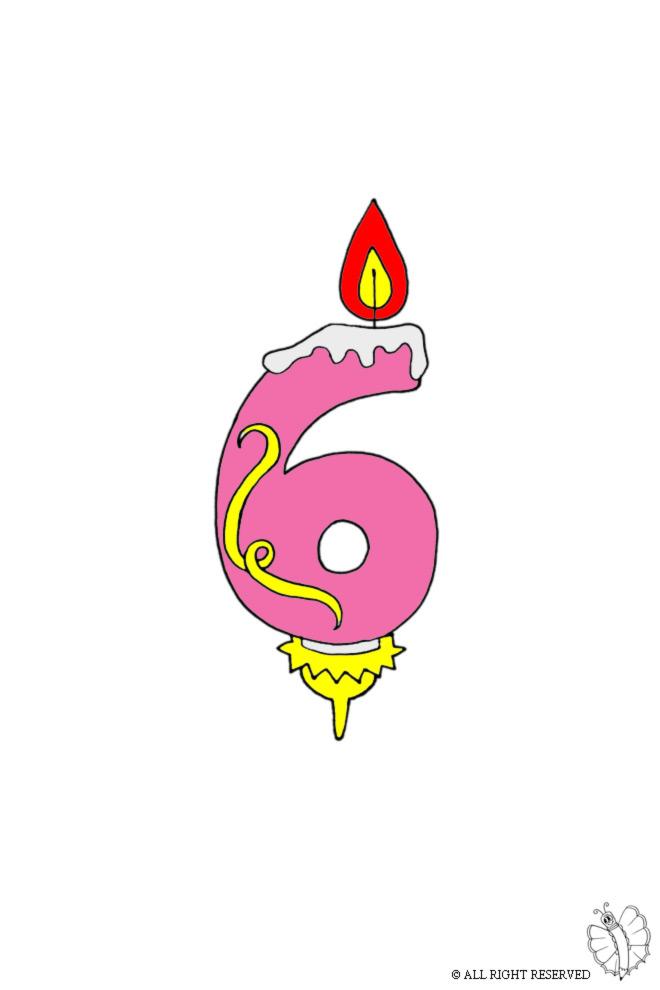 disegno di Sei Anni Candeline Compleanno a colori