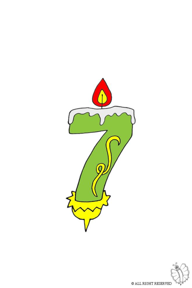 disegno di Sette Anni Candeline Compleanno a colori