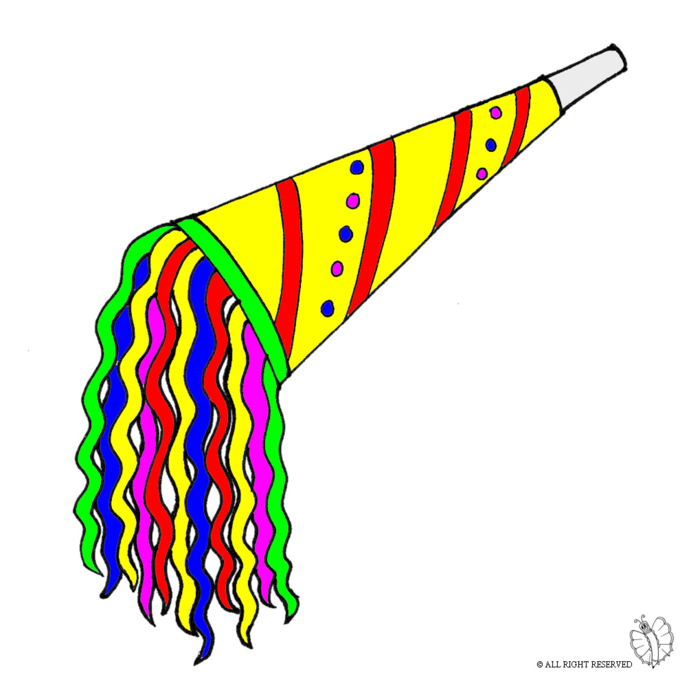 disegno di Trombetta per Feste a colori