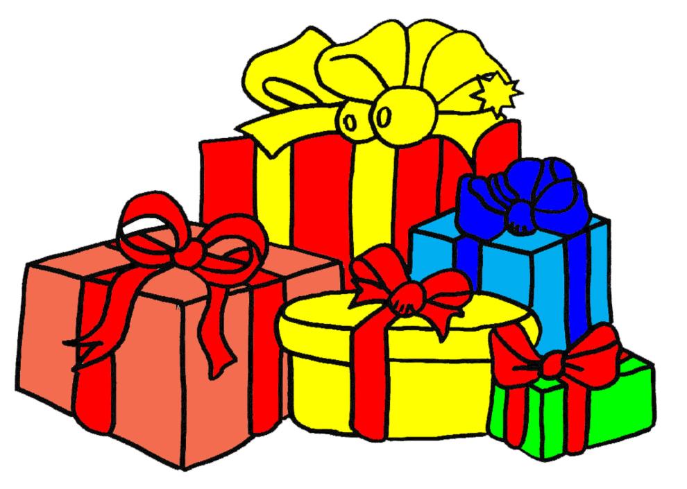 stampa disegno di regali di natale a colori
