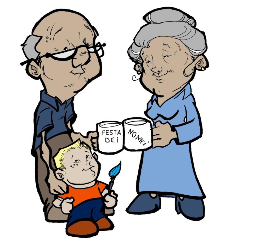 Stampa disegno di festa dei nonni a colori