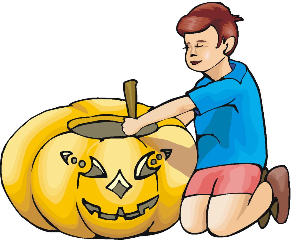 disegno di Bambino con la Zucca a colori