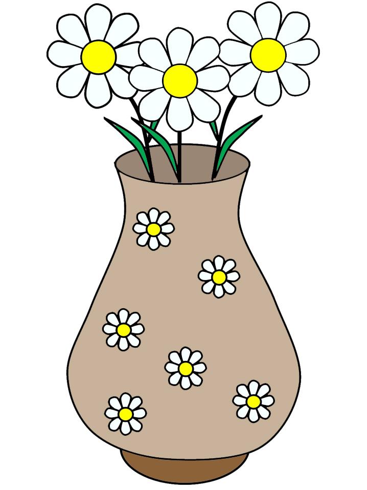 disegno di Vaso di Margherite a colori