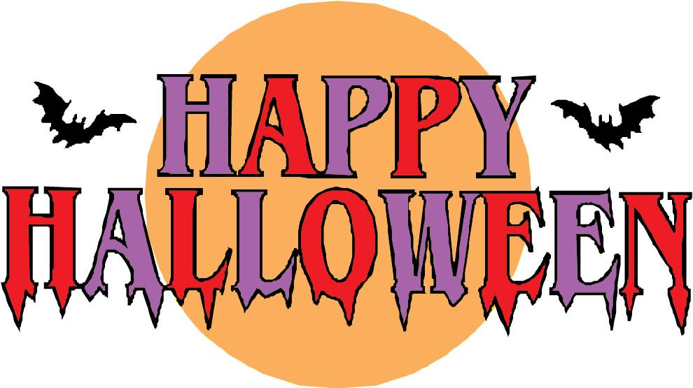 Stampa disegno di scritta happy halloween a colori