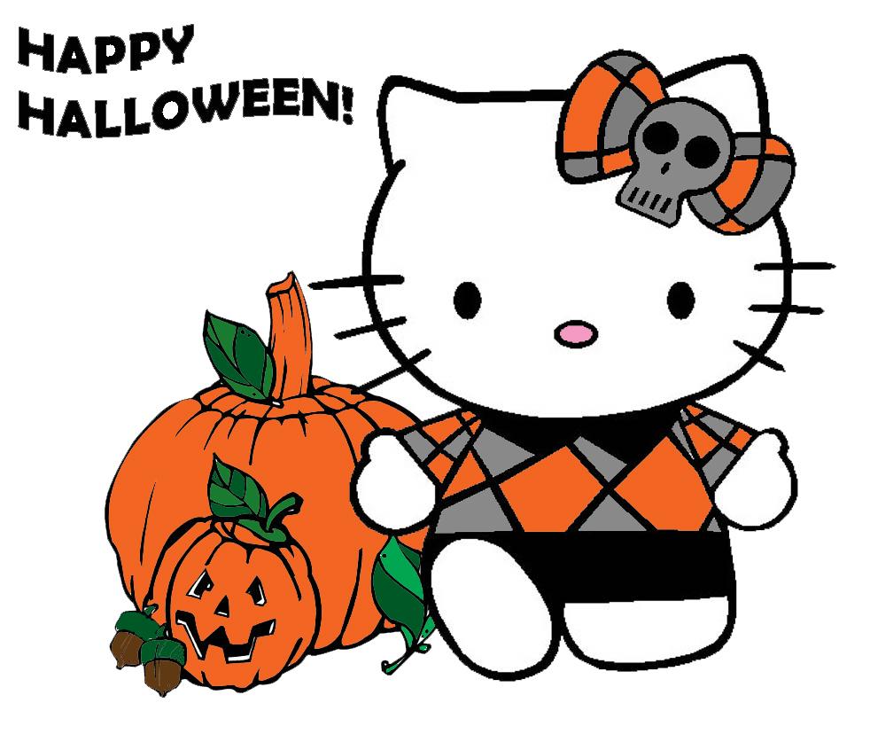 disegno di Hello Kitty Happy Halloween a colori