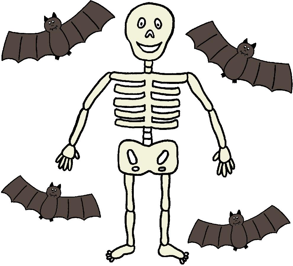 Stampa disegno di scheletro e pipistrelli a colori - Scheletro foglio da colorare ...