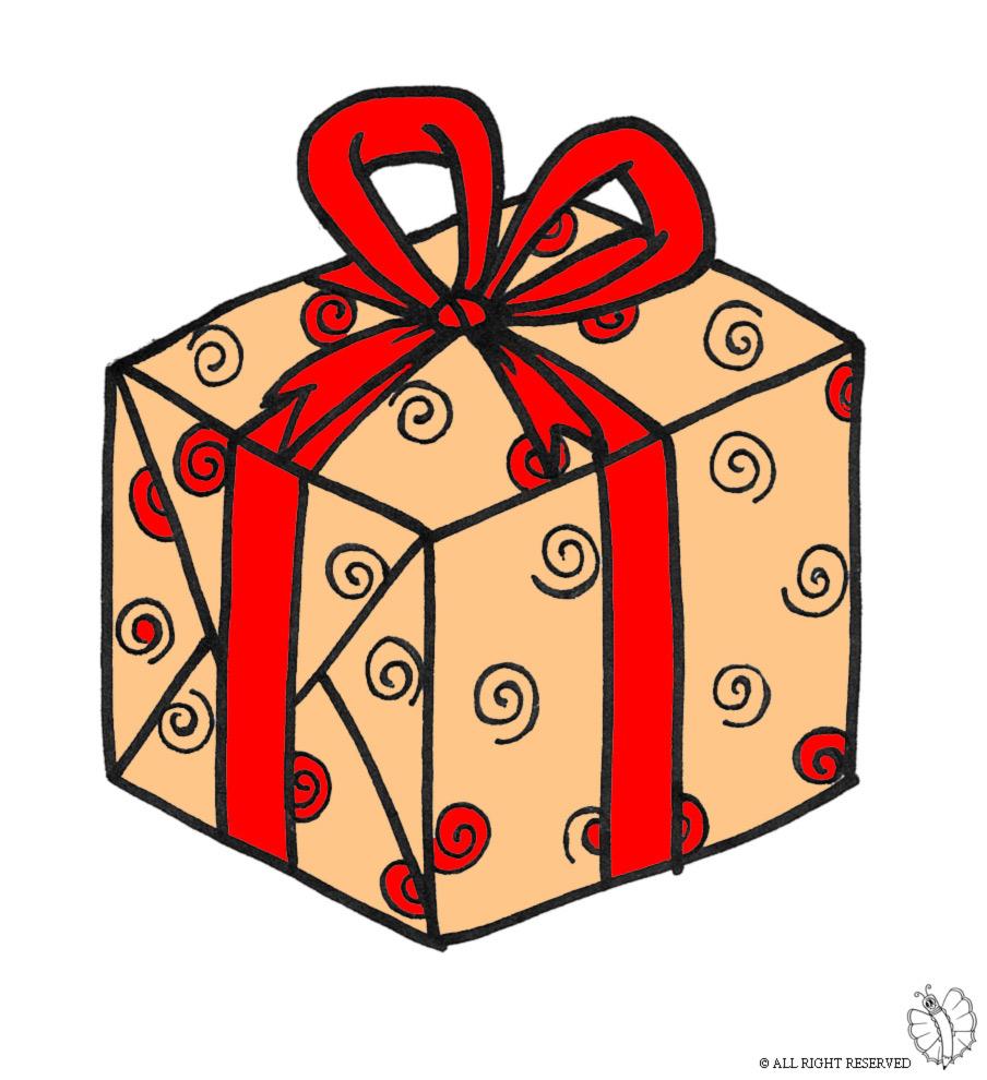stampa disegno di pacco regalo con fiocco a colori