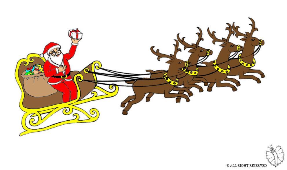 disegno di Slitta con Babbo Natale a colori