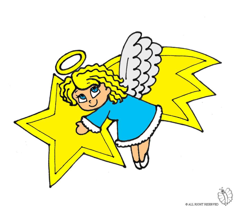Stampa disegno di stella cometa e angioletto a colori for Disegni di angeli da colorare per bambini