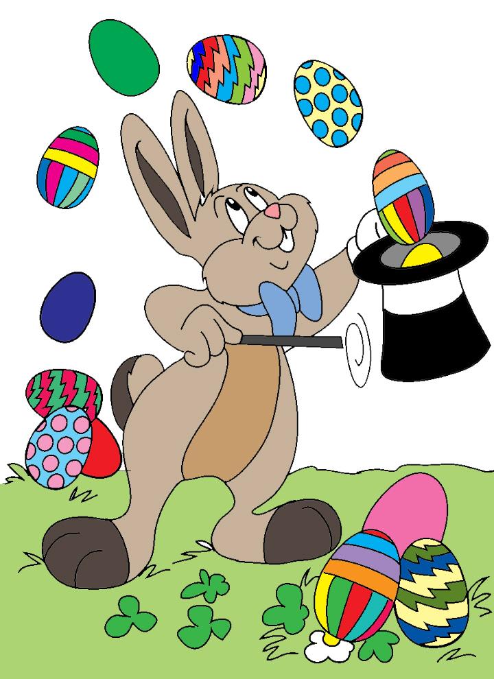Stampa disegno di coniglio mago di pasqua a colori for Coniglio disegno per bambini