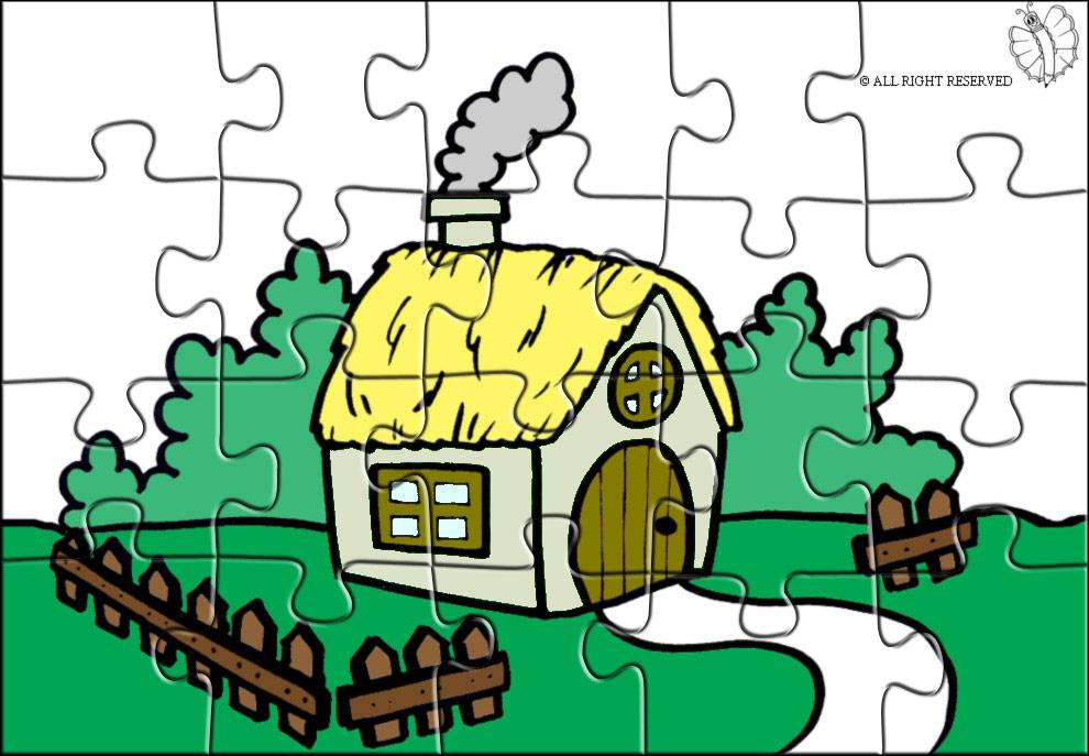 Stampa disegno di puzzle di fattoria a colori for Disegni di casa in stile fattoria