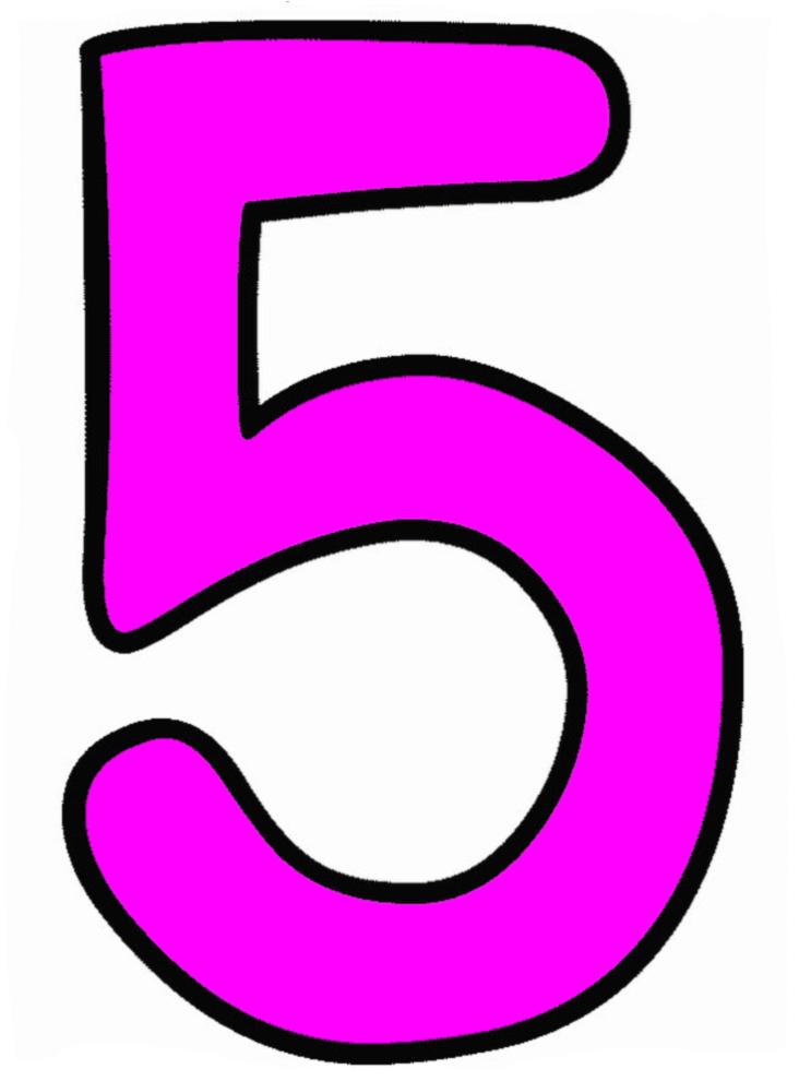Stampa disegno di numero cinque a colori - Numeri per tavoli da stampare ...